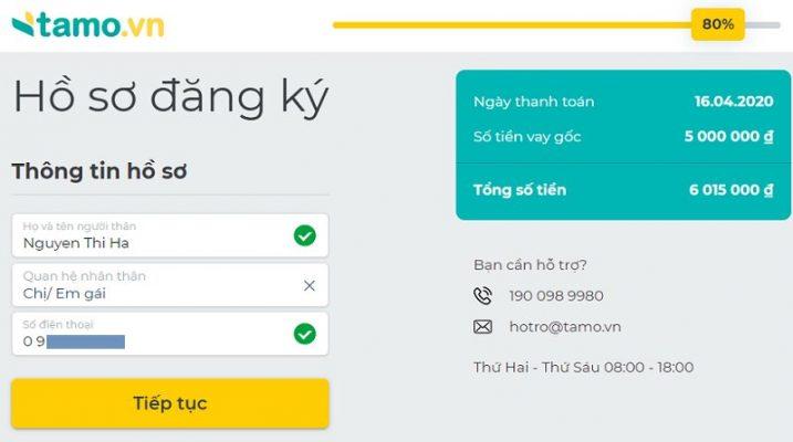 Hướng dẫn đăng ký vay tiền Tamo